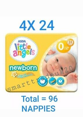 ASDA LITTLE ANGELS NEWBORN 4 PACKS OF 24 NAPPIES 2-5lbs NEW SIZE 0 PREMATURE  • 6.90£