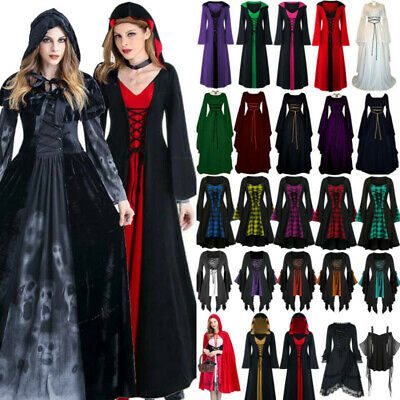 AU31.79 • Buy Women Christmas Scary Renaissance Maxi Dress Gothic Party Witch Cosplay Costume