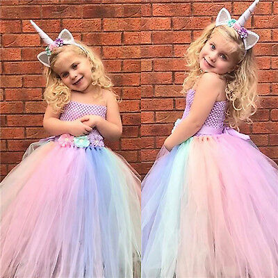 AU37.39 • Buy Girls Kids Fancy Tutu Dress Up Unicorn Rainbow Cosplay Costume Dress Headband AU