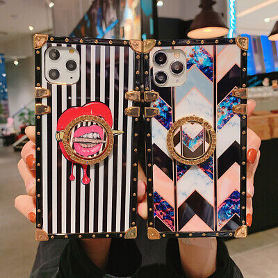 AU18.38 • Buy Retro Marble W/Ring Stand Square Case Cover For IPhone 11 12 Pro Max XS XR 6 7 8