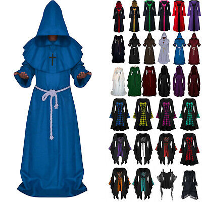 AU18.59 • Buy Adults Fancy Gothic Costume Medieval Gown Witch Cape Womens Party Maxi Dress AU