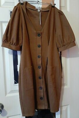 AU20 • Buy ASOS UK14 Brown Summer/Autumn Button Front Puff Sleeve Dress (New With Tags)