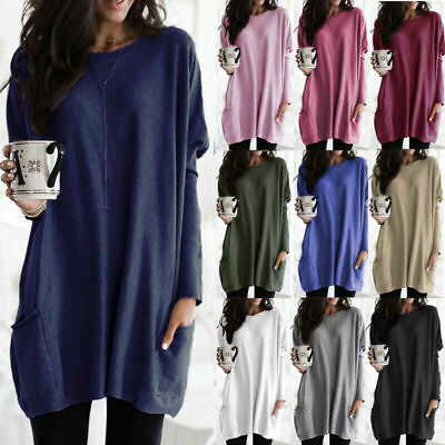 Womens Long Sleeve Pullover T-shirt Ladies Loose Casual Tops Jumper Plus Size • 8.69£