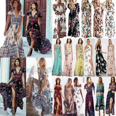 AU30.68 • Buy Womens Boho Floral Long Maxi Dress Casual Summer Holiday Party Beach Swing Dress