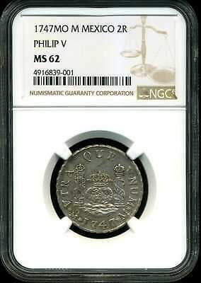 $ CDN2239.62 • Buy Mexico 1747 Mo-M Philip V 2 Reales MS62 NGC 4916839-001 KM#85