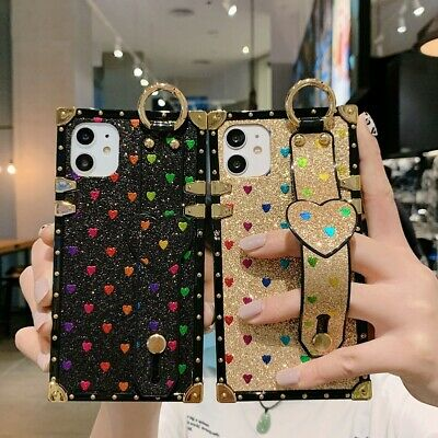 AU17.68 • Buy For IPhone 12 11 Pro Max XS XR 6 7 8 Girls Glitter Heart Love Holder Square Case