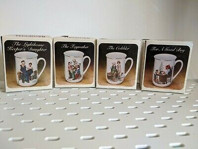 $ CDN28.60 • Buy Vintage Norman Rockwell 1982 Museum Coffee Mugs Set Of 4 Gold Trim Collectible