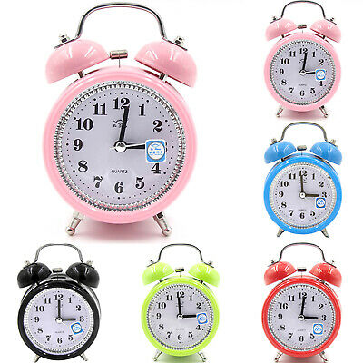 AU16.89 • Buy Super Loud Double Bell Quartz Movement Alarm Clock With Night Light Bedside Bed