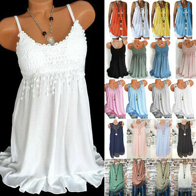 AU26.59 • Buy Plus Size Women's Sleeveless Lace Maxi Dress Vest Swing Strappy Tunic Long Tops