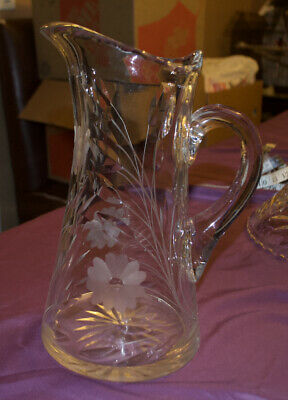 $40 • Buy Antique American Brilliant Heavy Cut Crystal Glass Water Beverage Pitcher