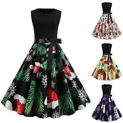 AU20.42 • Buy Xmas Women Christmas Vintage Skater Dress Sleeveless Casual Party Swing Dresses