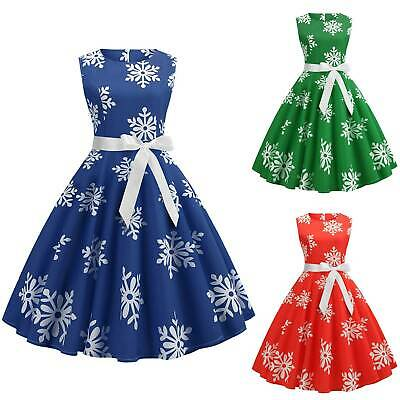 AU22.98 • Buy Women Christmas A-Line Dress Sleeveless Swing Snow Floral Vintage Party Casual