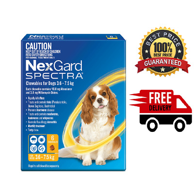 AU78 • Buy NexGard Spectra Yellow 6 Pack For Small Dogs 3.6-7.5kg - Free Postage