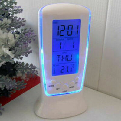 AU14.39 • Buy Modern Dementia Digital Backlight LED Bedside Alarm Clock Snooze Thermometer NEW