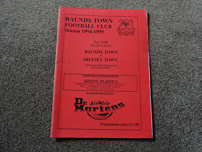 Raunds Town V Arlesey Town 94/95 FA Vase Semi Final 1st Leg Programme. • 0.99£