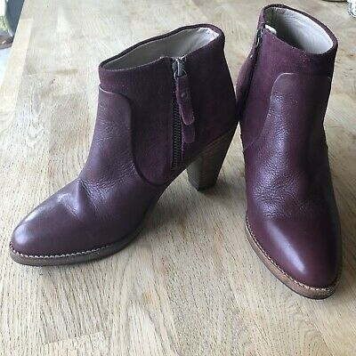 Boden Leather And Suede Burgundy Boots UK Size 5 • 25£
