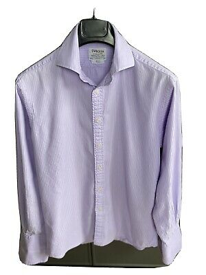 """T.M.Lewin Double Cuff Striped Lilac Luxury Slim Fit Collar 15.5"""" Sleeve 33 Shirt • 0.99£"""