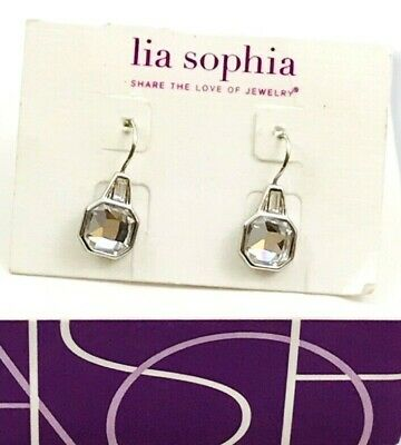 $ CDN12.09 • Buy New Lia Sophia  Privy  Silver Octagon Cut Crystal Center Stone Dangle Earrings