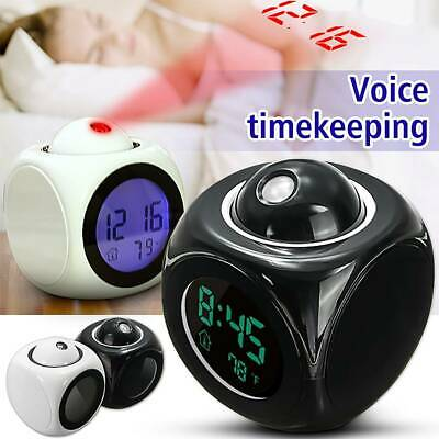 AU21.39 • Buy Alarm Clock LED Wall/Ceiling Projection LCD Digital Voice Talking Temperature AU