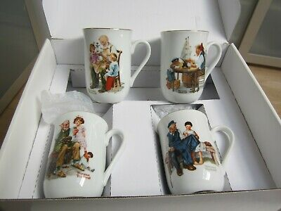 $ CDN10.48 • Buy Set Of 4 Norman Rockwell Museum Coffee Mug Tea Cups Vintage 1982 Gold Trim