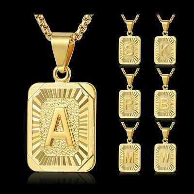 £2.59 • Buy Gold Filled Letter A-Z Square Initial Necklace Pendant Box Clavicle Chain Unisex