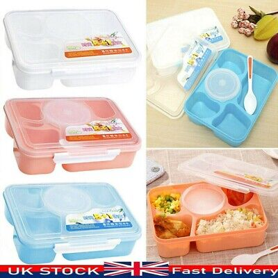 5 Cells Bento Lunch Box For Kids With 5 Compartments Leakproof Food Container UK • 6.29£