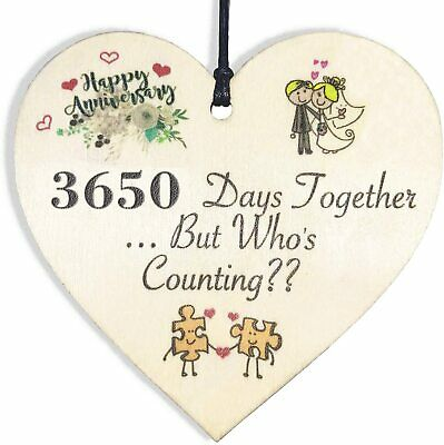 Handmade Wooden Heart Plaque 10th Wedding Anniversary Gift For Her Him Husband • 6.59£