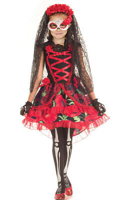 Girls Red Day Of The Dead Zombie Bride Skeleton 3 Piece Halloween Costume Kids  • 18.99£