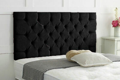 Brand New Black Double Chesterfield Chenille Headboard • 10£