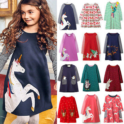 AU15.69 • Buy Child Kids Girls Unicorn Deer Xmas Casual Long Sleeve Party Dress Clothes Jumper