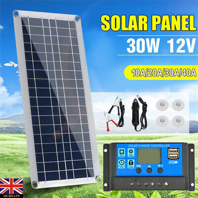 30W 12V Dual USB Flexible Solar Panel Battery Charger Kit Car Boat + Controller • 16.99£