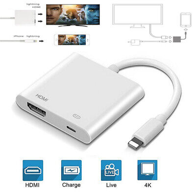 AU19.99 • Buy 4K 1080P For IPhone To HDMI HD TV Projector Converter Adapter For Apple IPad IOS