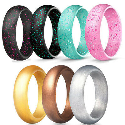 Silicone Glitter Ring Men Women Wedding Band Jewelry Size 4-10 5.7mm Wide • 3.49£