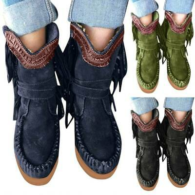 Womens Ankle Boots Arch Support Flat Platform Tassel Bucket Winter Shoes Booties • 17.19£