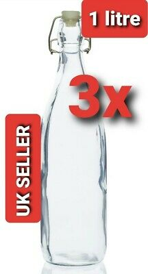3 X 1L Classic Clear Glass Swing Top  Stopper Bottle For Water Wine • 12.89£