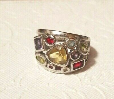 $ CDN29.24 • Buy New Lia Sophia  Panorama  Red/Yellow/Clear Crystals Silver Tone Mosaic Ring Sz 8