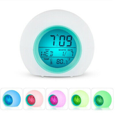 AU14.66 • Buy Portable Kids Wake Up Light Alarm Clock 7-Color Backlight Calendar Thermometer