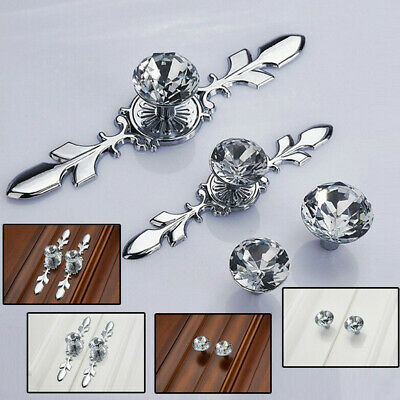 Crystal Diamond Glass Pull Handle Door Knobs Drawer Cupboard Cabinet Handle G1 • 2.99£