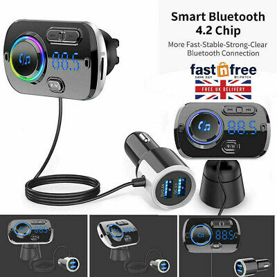 Wireless Bluetooth Car FM Transmitter Kit 2 USB Charger MP3 Player AUX Handsfree • 13.59£