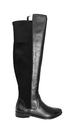 Clarks Caddy Belle Black Leather And Elastic Over The Knee Boots Size 4D NEW BOX • 54.99£