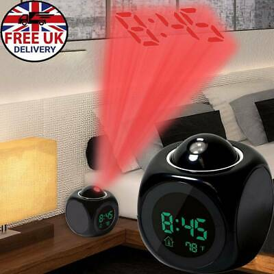 Projection LED Digital Alarm Clock Voice Talking Temperature Wall/Ceiling LCD UK • 7.87£