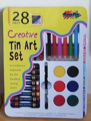 28 Piece Creative Tin Art Set - Oil Pastels, Crayons, Pencils, Paint With Brush  • 3.50£