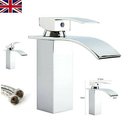 Waterfall Bathroom Sink Counter Taps Basin Mixer Tap Chrome Square Mono Faucet • 16.99£