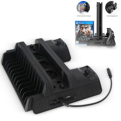 AU38.75 • Buy For PS4 Pro Vertical Stand + Cooling Fan Game Holder Charger Charging Dock