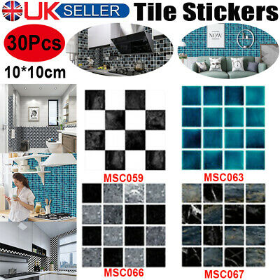 30Pc Kitchen Tile Stickers Bathroom Mosaic Sticker Self-adhesive Wall Home Decor • 5.49£