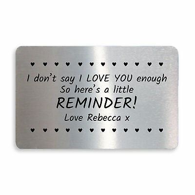 Personalised Wallet Card Insert I Love You Gifts For Him Her Anniversary Xmas • 3.99£