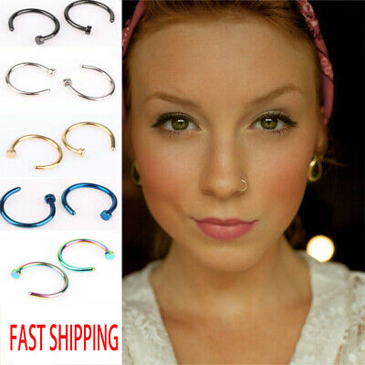AU2.98 • Buy Unisex Small Fake Nose Ring Ear Lip Body Piercing Jewellery Silver Gold Black