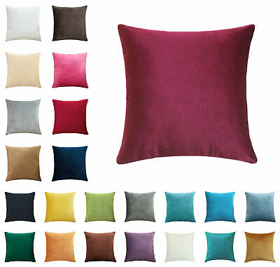 16  18  20  22  24  26  28  Velvet Plain Cover Cushion Soft Square Pillow Cases • 7.99£