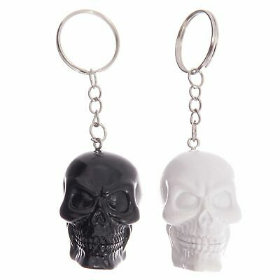 Fun Novelty Black Or White Skull Keyring Key Ring Car House Gift Novelty • 5.59£