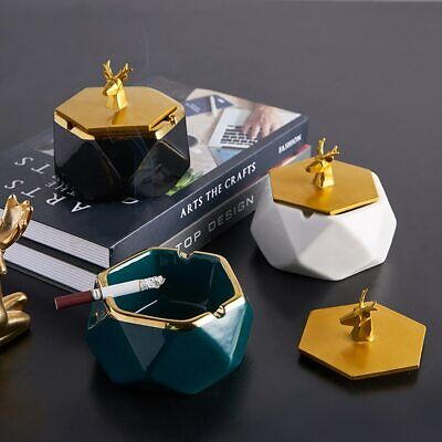 Geometric Ashtray Ceramic And Resin Living Room Table Deco Ashtray With Lids • 27£